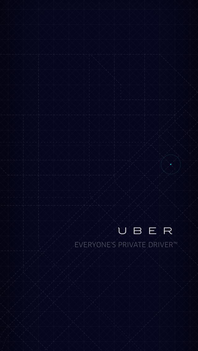 UberのiPhoneアプリのスプラッシュウィンドウ。クールなデザイン。